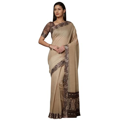 Marvellous Light Brown Colored Casual Printed Cotton Saree