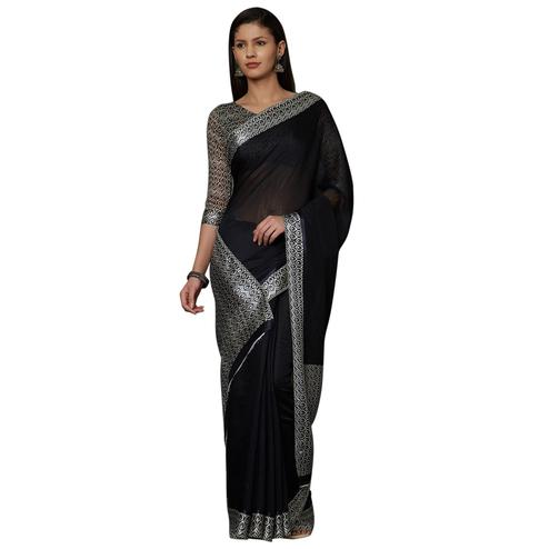 Flamboyant Black Colored Casual Printed Cotton Saree