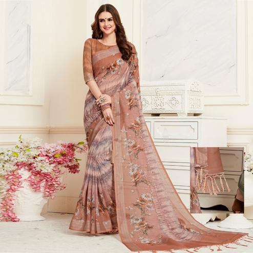 Sensational Brown Colored Casual Floral Digital Printed Linen Saree