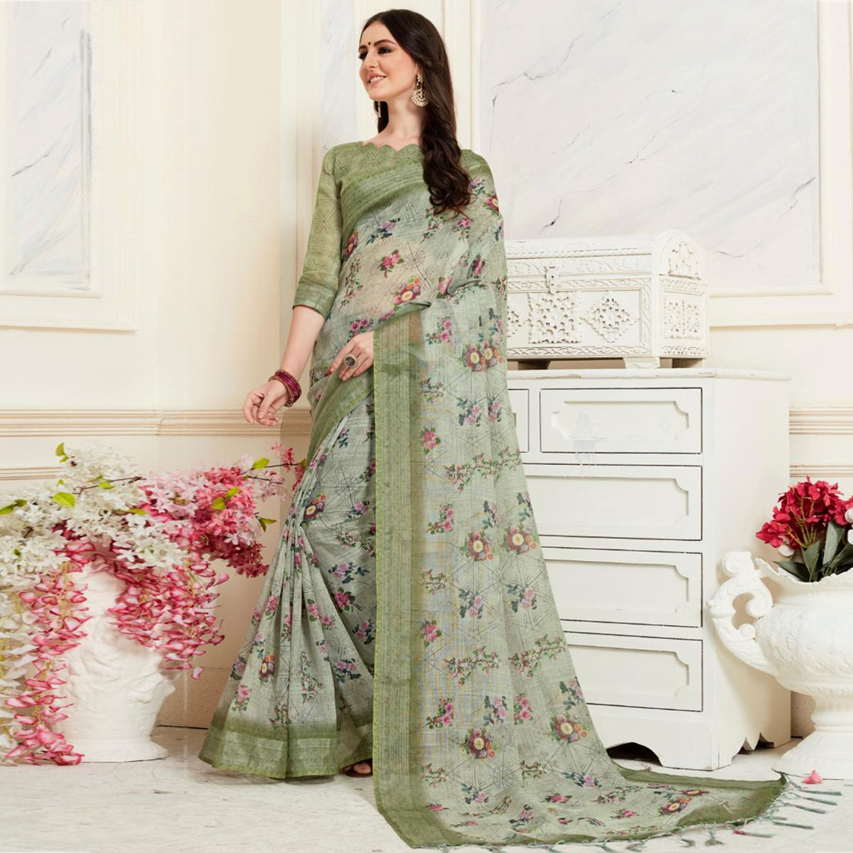 Flaunt Olive Green Colored Casual Floral Digital Printed Linen Saree