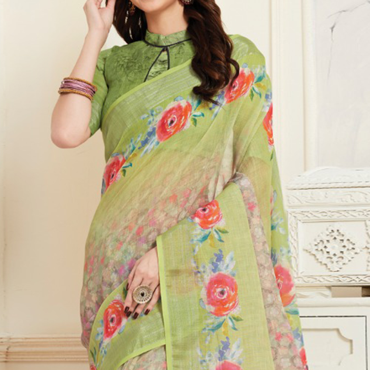 Stunning Green Colored Casual Floral Digital Printed Linen Saree