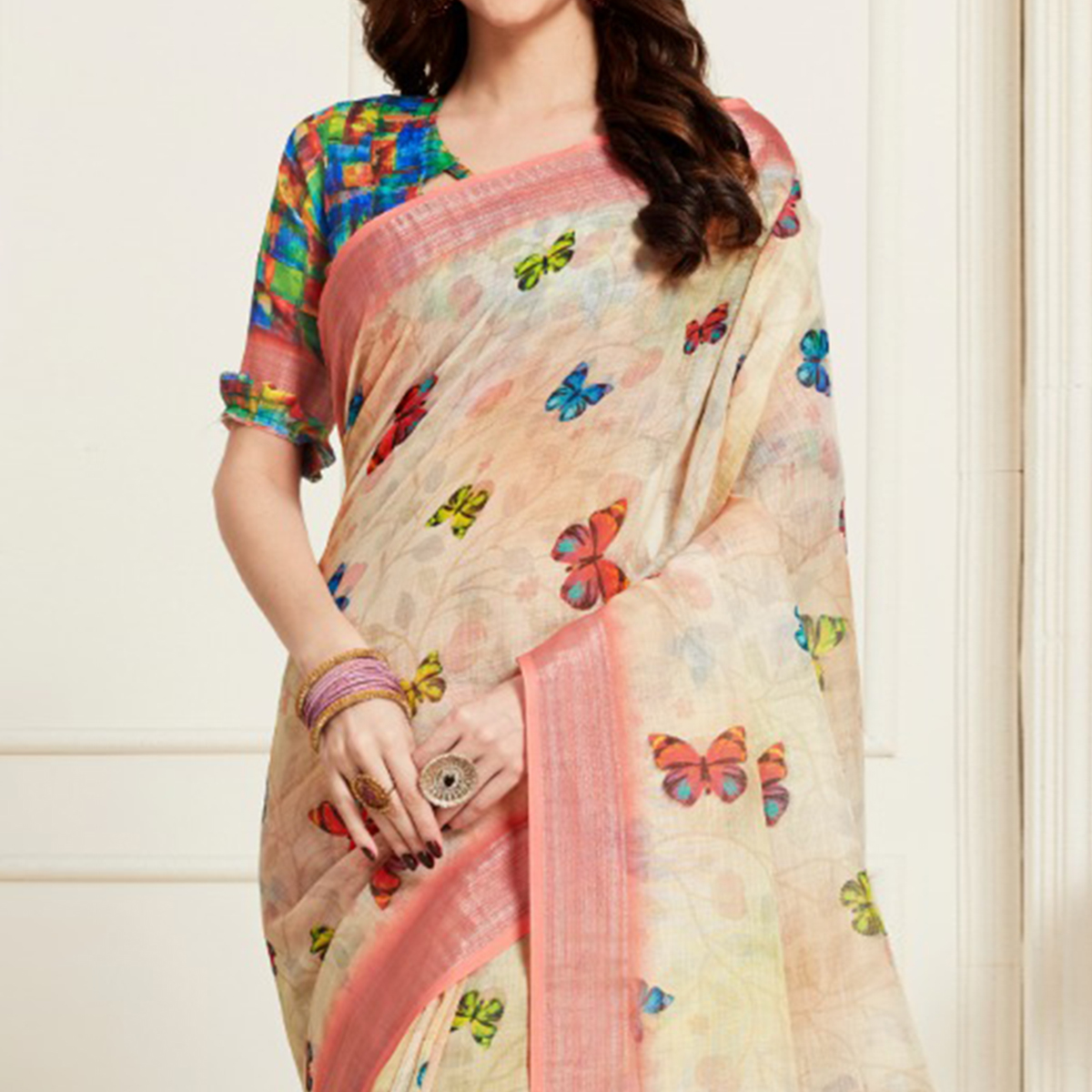Flirty Cream Colored Casual Butterfly Digital Printed Linen Saree