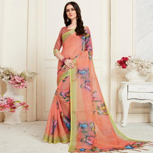 Classy Peach Colored Casual Butterfly Digital Printed Linen Saree