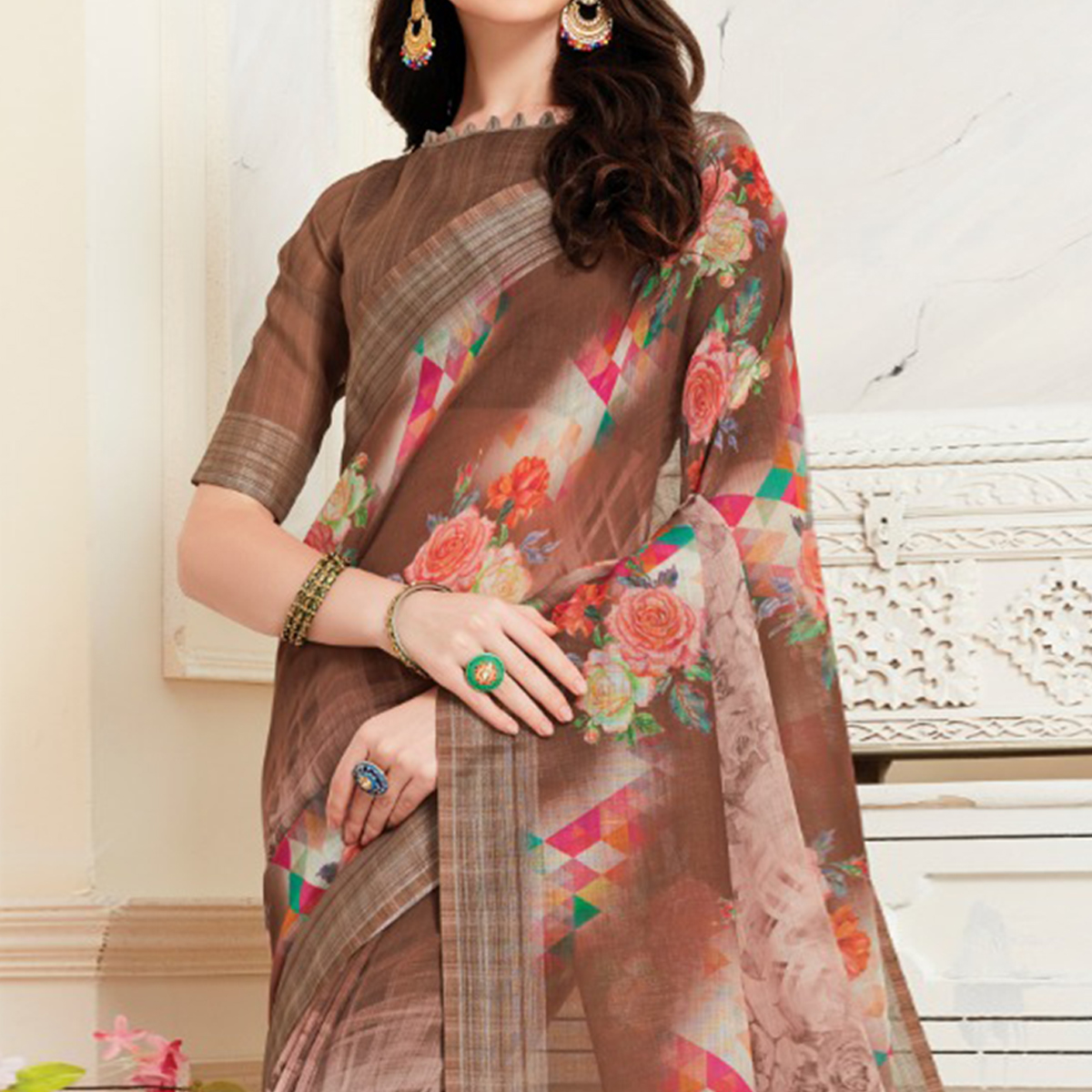 Prominent Brown Colored Casual Floral Digital Printed Linen Saree
