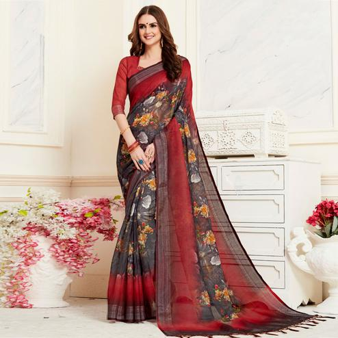 Appealing Black Colored Casual Floral Digital Printed Linen Saree