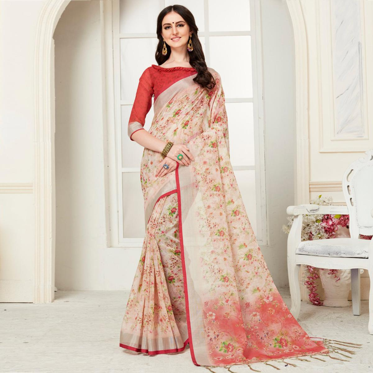 Capricious Cream Colored Casual Floral Digital Printed Linen Saree