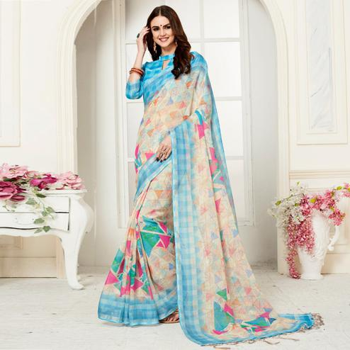 Entrancing Cream Colored Casual Geometric Digital Printed Linen Saree