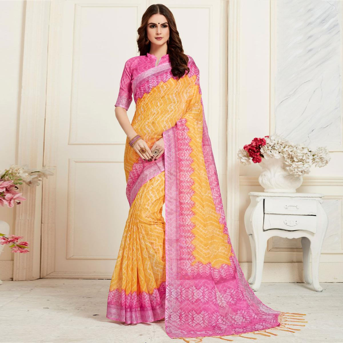 Groovy Yellow Colored Casual Chervon Digital Printed Linen Saree
