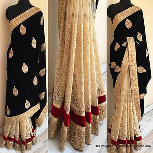 Black - Beige Sequins Work Half Saree