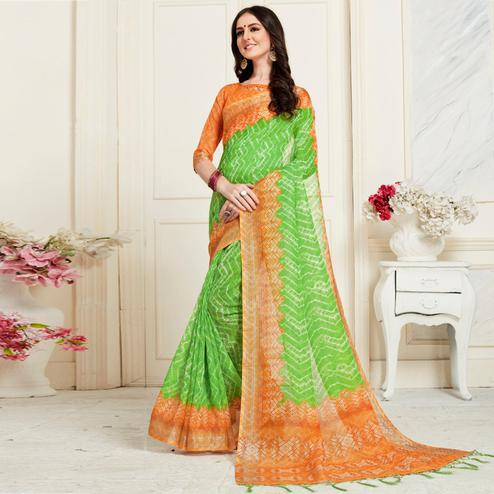 Adorning Green Colored Casual Chervon Digital Printed Linen Saree