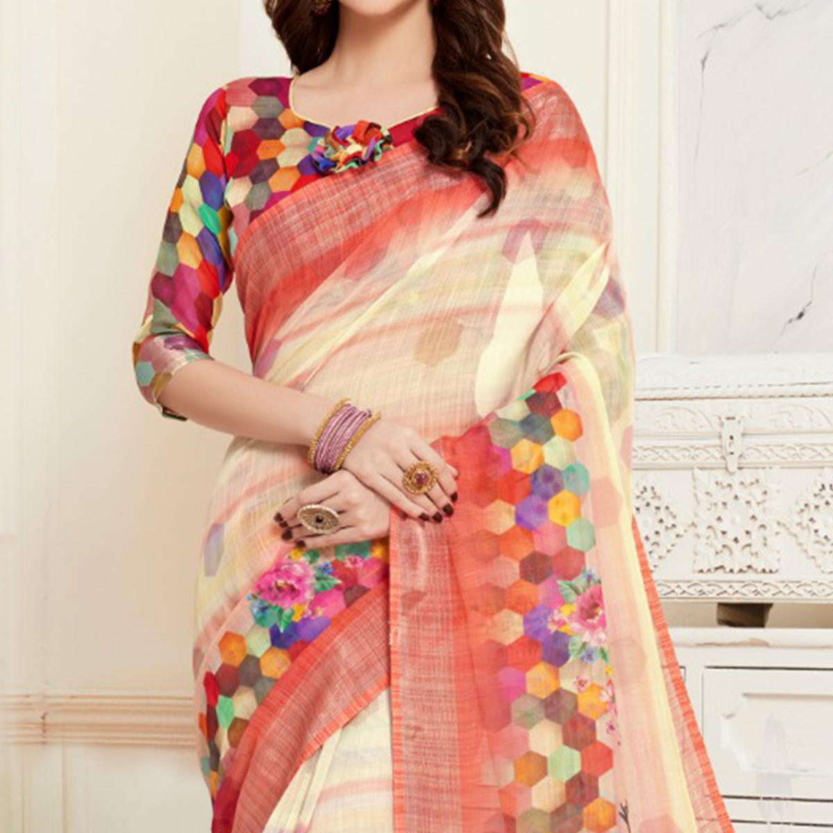 Exclusive Cream Colored Casual Digital Printed Linen Saree