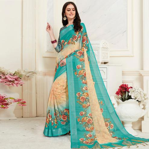 Adorable Beige Colored Casual Floral Digital Printed Linen Saree