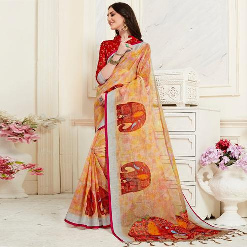 Glorious Multi Colored Casual Elephant Digital Printed Linen Saree