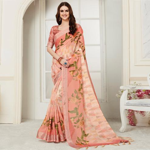 Attractive Peach Colored Casual Floral Digital Printed Linen Saree