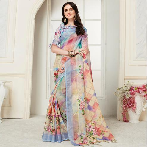 Beautiful Multi Colored Casual Digital Floral Printed Linen Saree