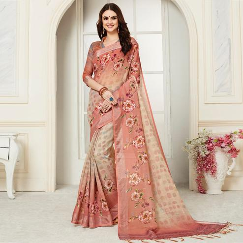 Graceful Beige Colored Casual Floral Digital Printed Linen Saree
