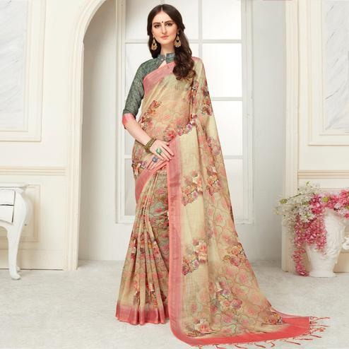 Blooming Beige Colored Casual Floral Digital Printed Linen Saree