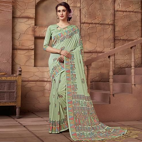 Engrossing Light Aqua Green Colored Festive Wear Madhubani Printed Art Silk Saree