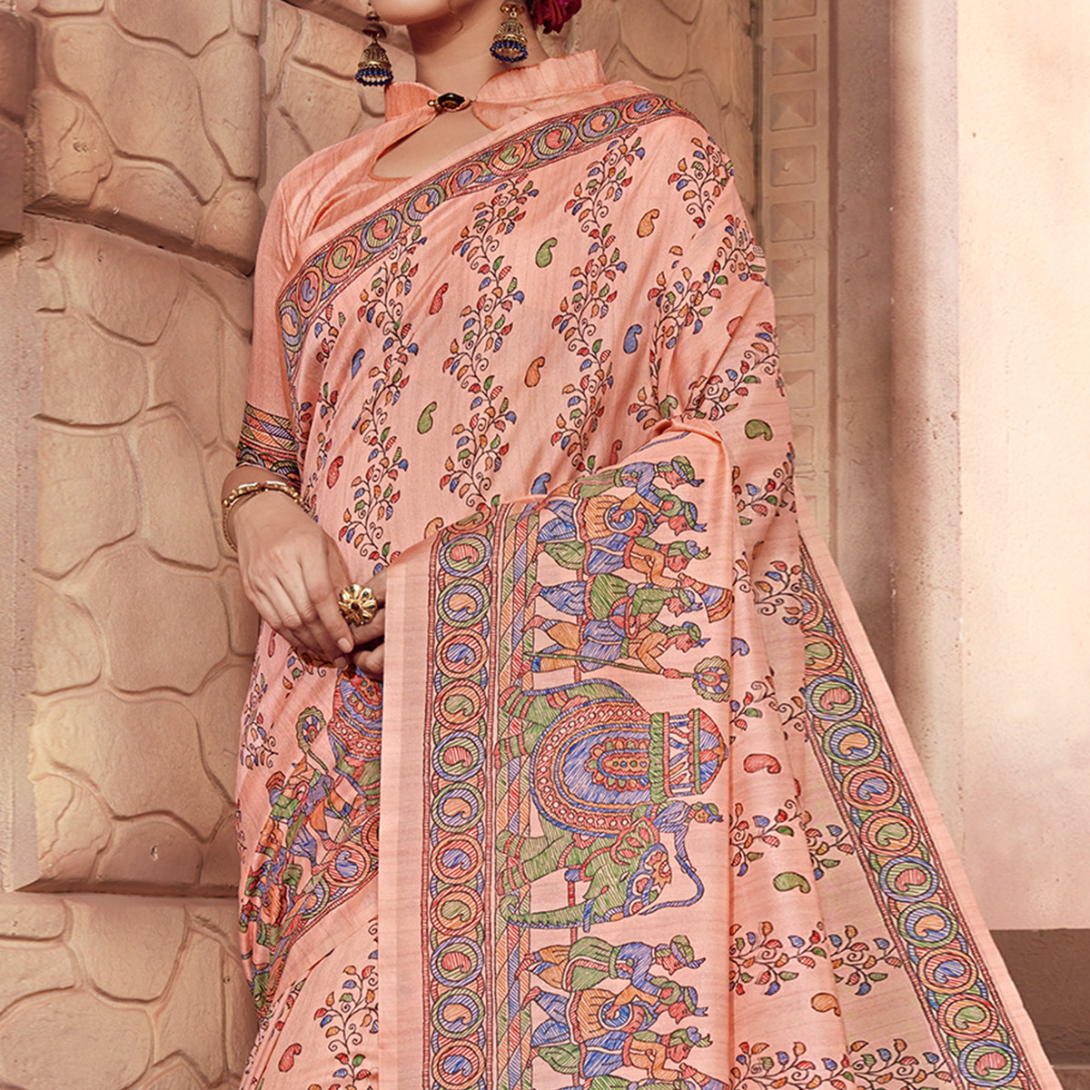 Captivating Pink Colored Festive Wear Madhubani Printed Art Silk Saree