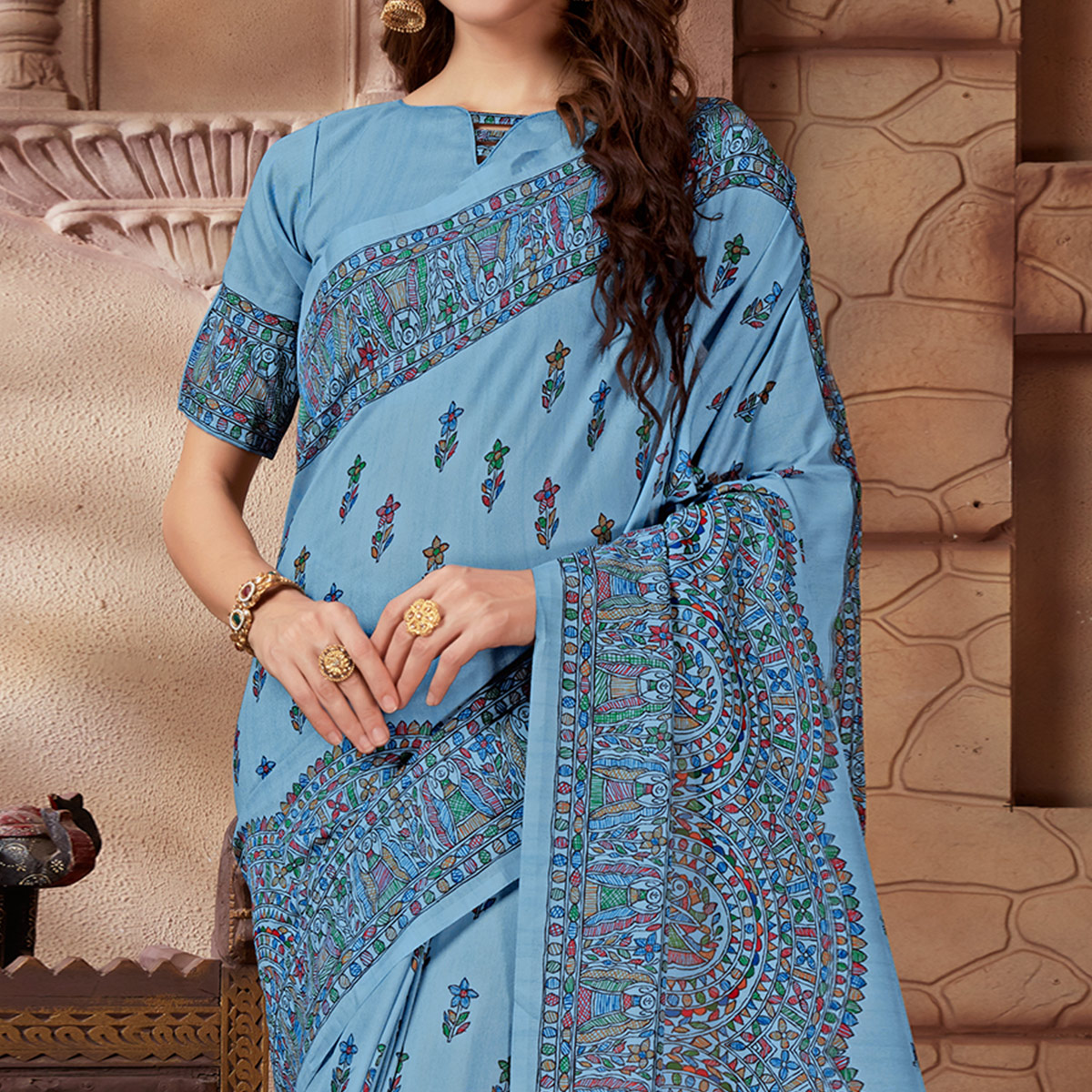 Eye-catching Blue Colored Festive Wear Madhubani Printed Art Silk Saree