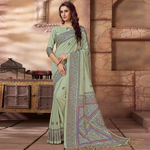 Amazing Light Aqua Green Colored Festive Wear Madhubani Printed Art Silk Saree