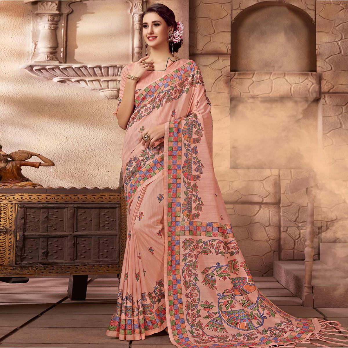 Imposing Pink Colored Festive Wear Madhubani Printed Art Silk Saree