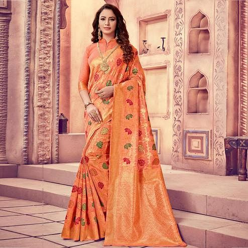 Majesty Peach Colored Festive Wear Woven Cotton Silk Saree