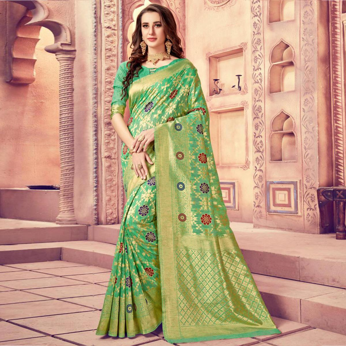 Impressive Green Colored Festive Wear Woven Cotton Silk Saree