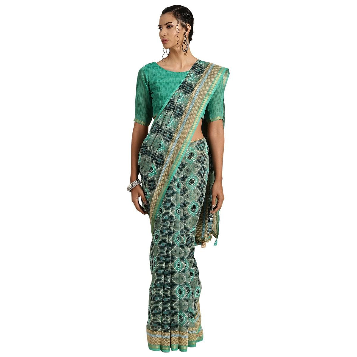 Intricate Green Colored Casual Printed Cotton Saree