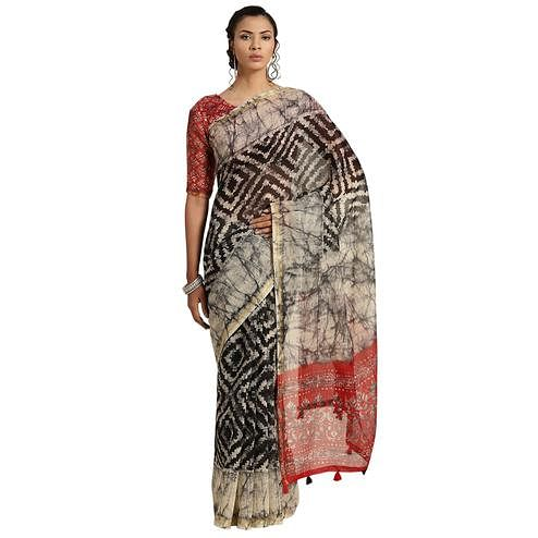 Arresting Black Colored Casual Printed Cotton Saree