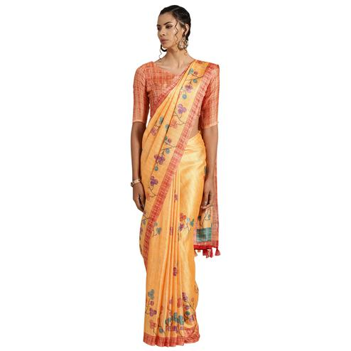 Desirable Orange Colored Casual Printed Cotton Saree