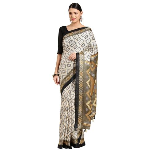 Exotic Cream Colored Casual Printed Linen Saree