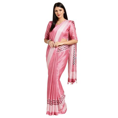 Sophisticated Pink Colored Casual Printed Linen Saree