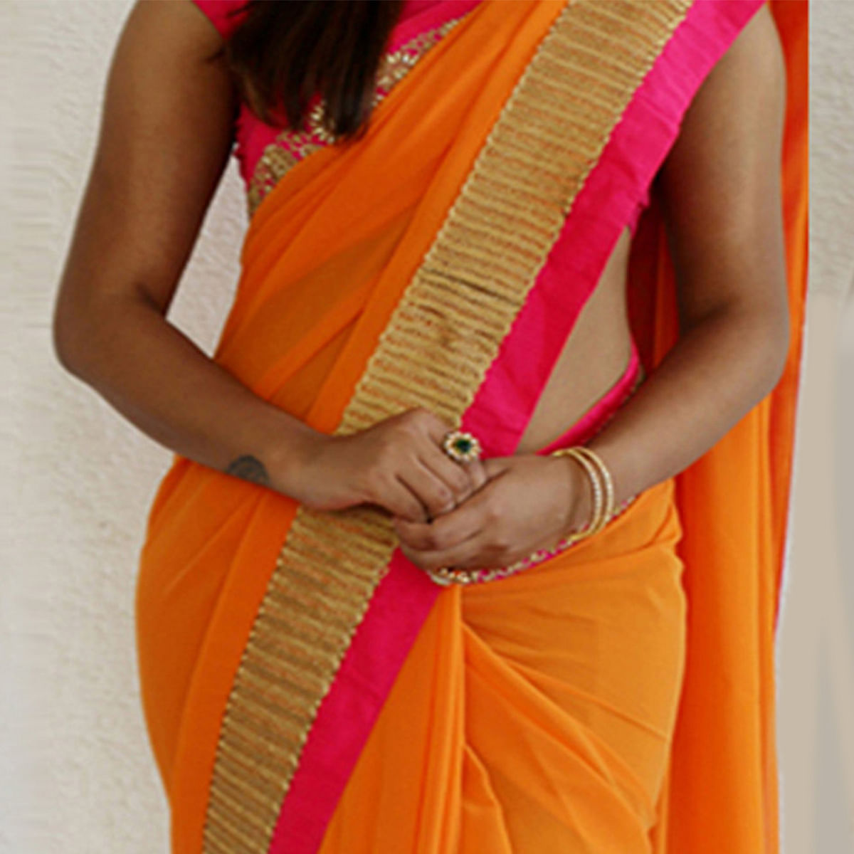 Orange Border Work Georgette Saree