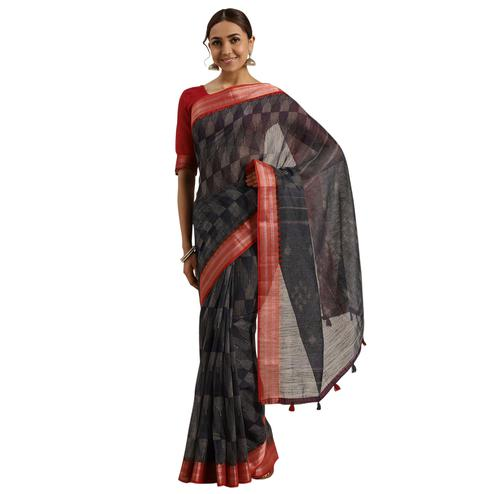 Radiant Navy Blue-Black Colored Casual Printed Cotton Saree