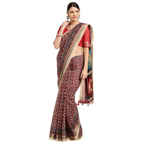 Pleasant Maroon Colored Casual Printed Cotton Saree
