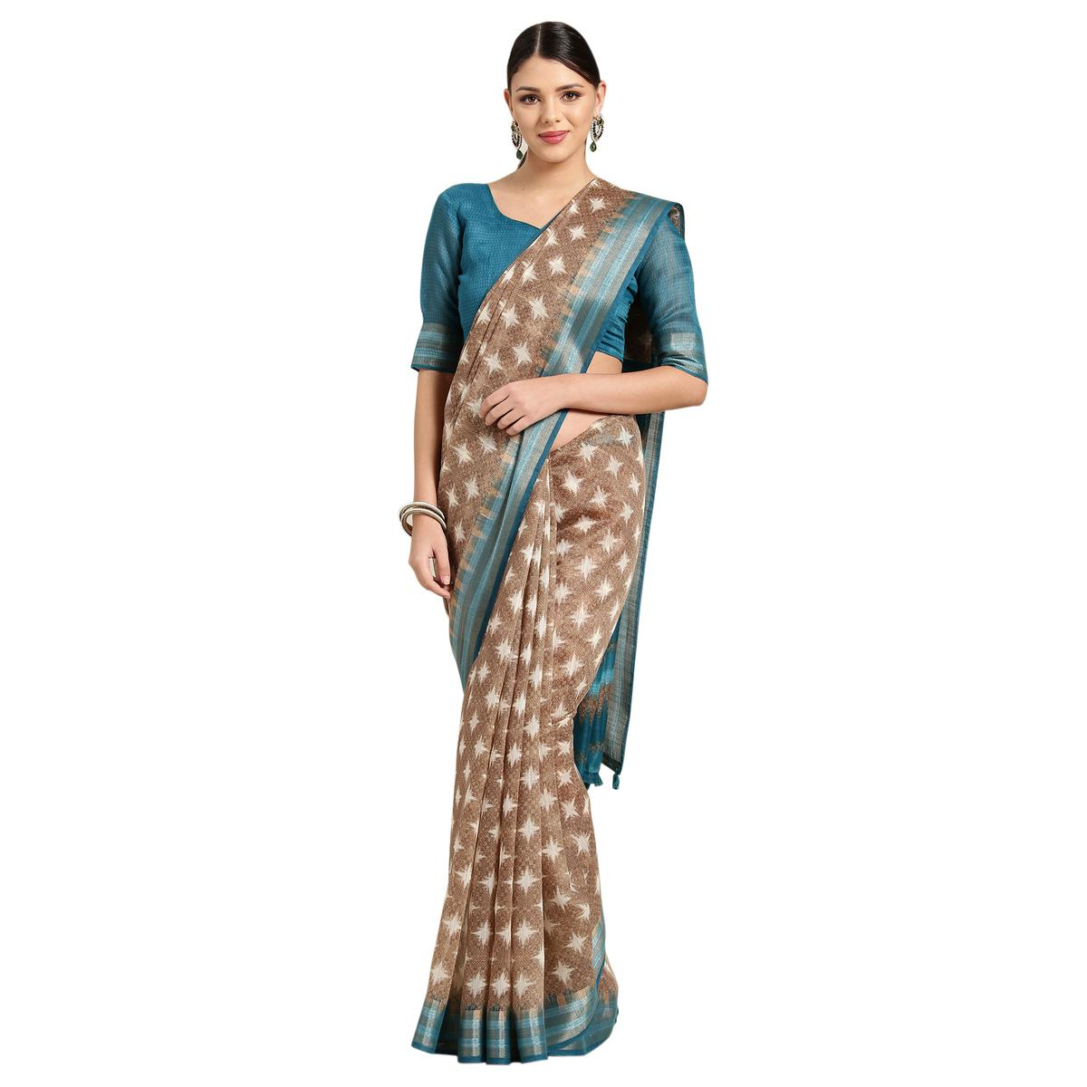 Opulent Brown Colored Casual Printed Cotton Saree