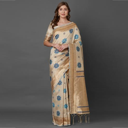 Gleaming Cream Colored Festive Wear Geometric Printed Banarasi Silk Saree