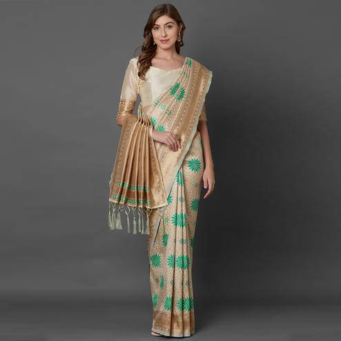 Unique Cream Colored Festive Wear Geometric Printed Banarasi Silk Saree