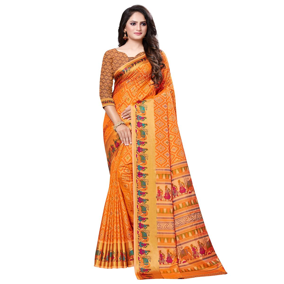 Refreshing Orange Color Casual Printed Art Silk Saree