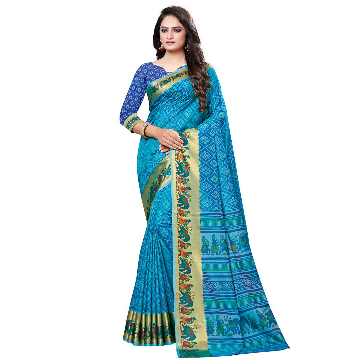 Magnetic Sky Blue Colored Casual Printed Art Silk Saree