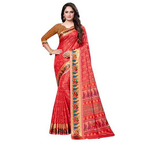 Hypnotic Red Colored Casual Printed Art Silk Saree