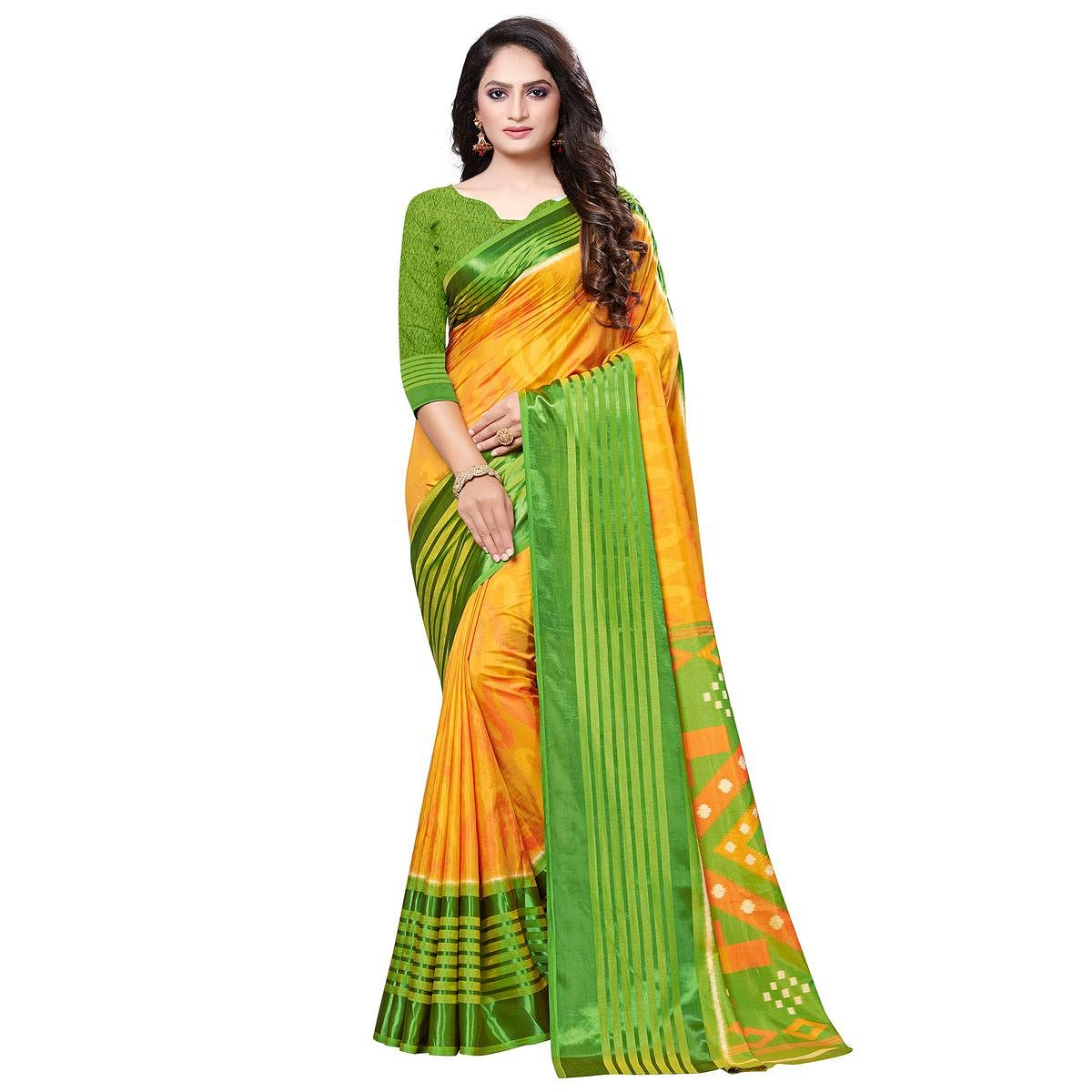 Excellent Yellow Colored Casual Printed Art Silk Saree