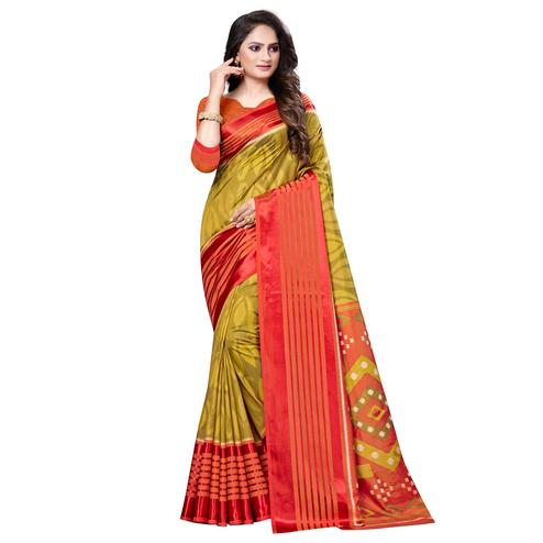 Marvellous Olive Green Colored Casual Printed Art Silk Saree