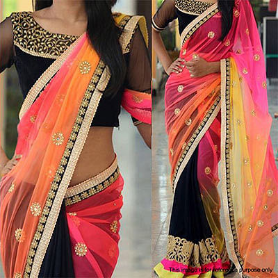 Multicolored Thread Work Georgette Saree