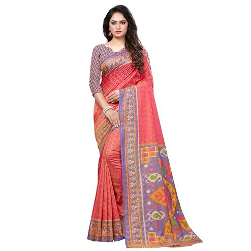 Stunning Pink Colored Casual Printed Art Silk Saree