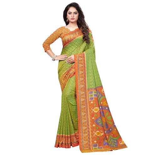 Flirty Green Colored Casual Printed Art Silk Saree