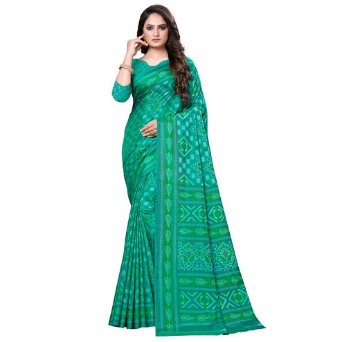 Entrancing Green Colored Casual Printed Art Silk Saree