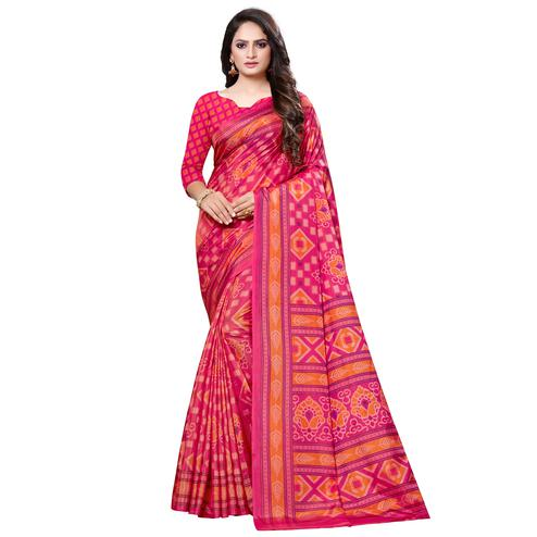 Groovy Pink Colored Casual Printed Art Silk Saree