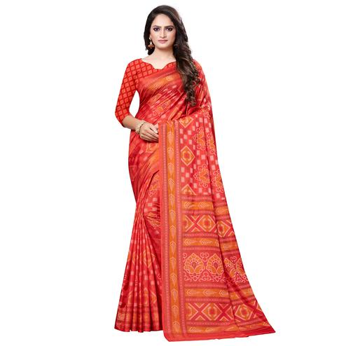 Adorning Red Colored Casual Printed Art Silk Saree